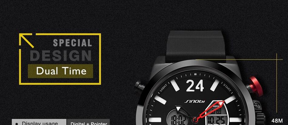HTB1TY1ekVuWBuNjSszbq6AS7FXap SINOBI 2020 Men Wrist Watches LED Chronograph