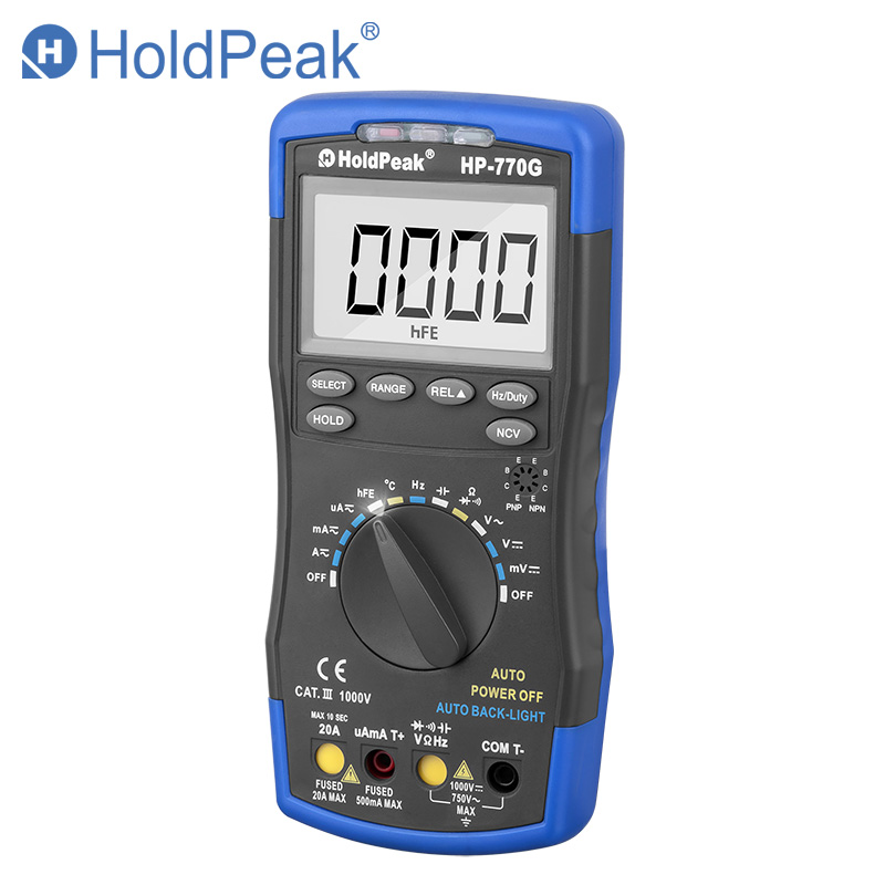HoldPeak HP-770G Auto Range Digital Multimeter DMM DC AC Voltage Current Temperature Meter Tester Diode Multimetro bside adm04 lcd digital multimeter mini pocket 2000 counts dmm dc ac voltage current meter diode tester auto ranging multimetro