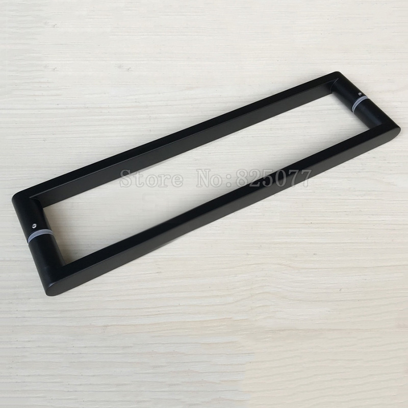 1Pair Dumb black 304 stainless steel square pipe handle shower room glass door handle C-C: 400mm JF1605 h009 40 bath room shower glass door handle 304 stainless steel polish chrome frame less c c 400mm