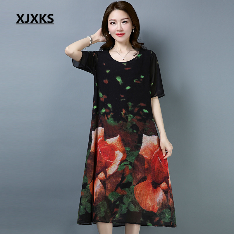 83e2157429f9 XJXKS Summer Chiffon Dresses Ladies Loose Style Ulzzang Short Sleeve Cool  Comfortable Outwear Women Dresses -in Dresses from Women s Clothing on ...