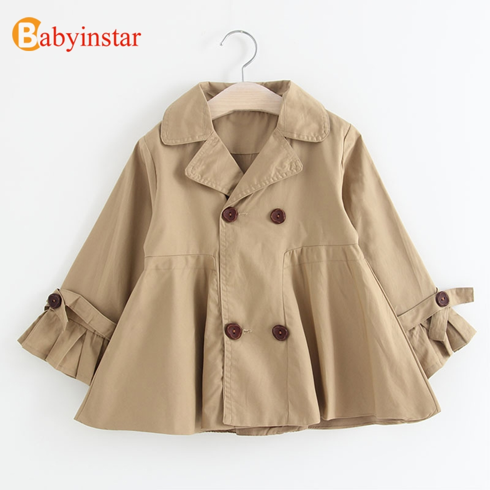 Babyinstar Baby Girls Trench Coat 2018 New Arrival Kids Trenc Outerwear Double Breasted Toddler Children Fashion Trench double breasted belt embellished trench coat page 4