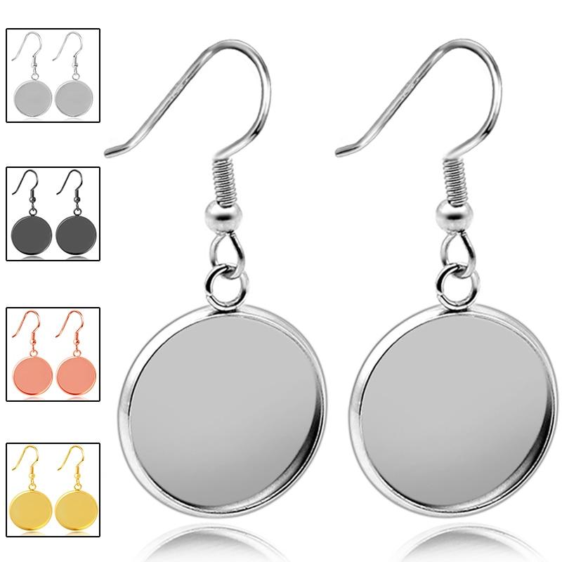 20pcs Stainless Steel Earrings Hook Cabochon Blank Base 8 10 12 14 16 18 20 25MM Glass Resin Jewelry Making Women's Accessories