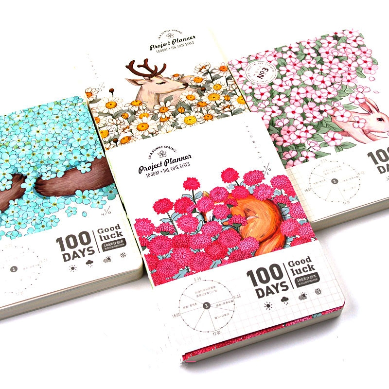 Animal World 100 Days Project Planner Daily Agenda Travel Notebook Study Scheduler Journal cute colorful floral design portable daily 2018 planner lovely doll girl scheduler 256p 11 8 15 4 2 3cm agenda gift