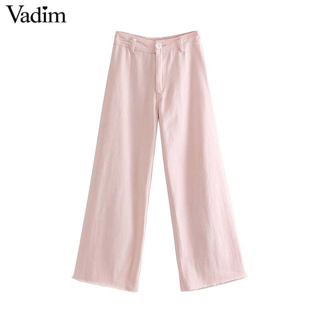 Vadim נשים מתוק ורוד רחב רגל ג 'ינס כיסי רוכסן לטוס מכנסיים מקרית נקבה קרסול אורך אופנתי מכנסיים pantalones KA970