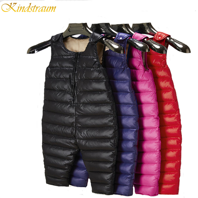 Kindstraum2016 New Baby Kids Down Pant Boys Girls Warm Duck Down Overall for Russia Winter Child