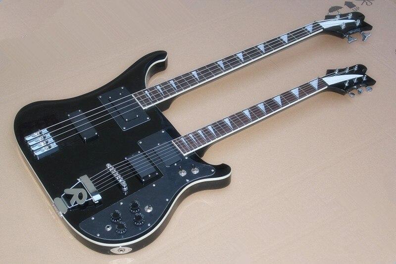 Top qualité usine personnalisé couleur noire Rick double cou 4 cordes basse + 6 cordes guitare électrique vente en gros et au détail 15-6-25