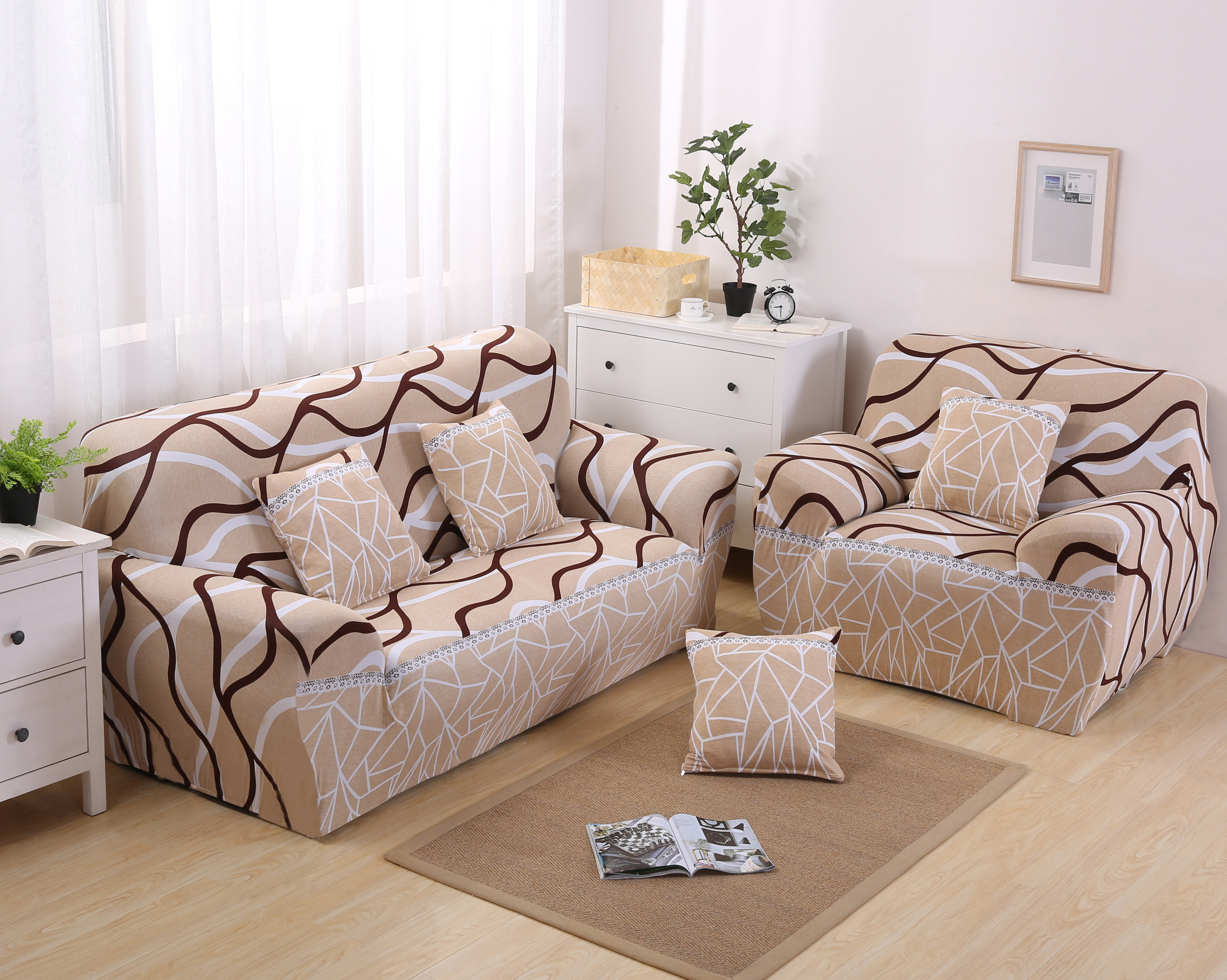 Monily Stripe Lingkaran Sofa Cover Ketat Wrap Penutup All Inclusive Anti Slip Elastis Sofa Covers Elastis