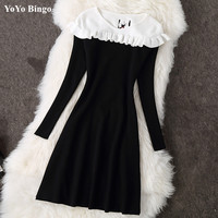 High Quality Winter 2017 New Spring Women Knitted Dress Elegant Ruffle A Line O Neck Long
