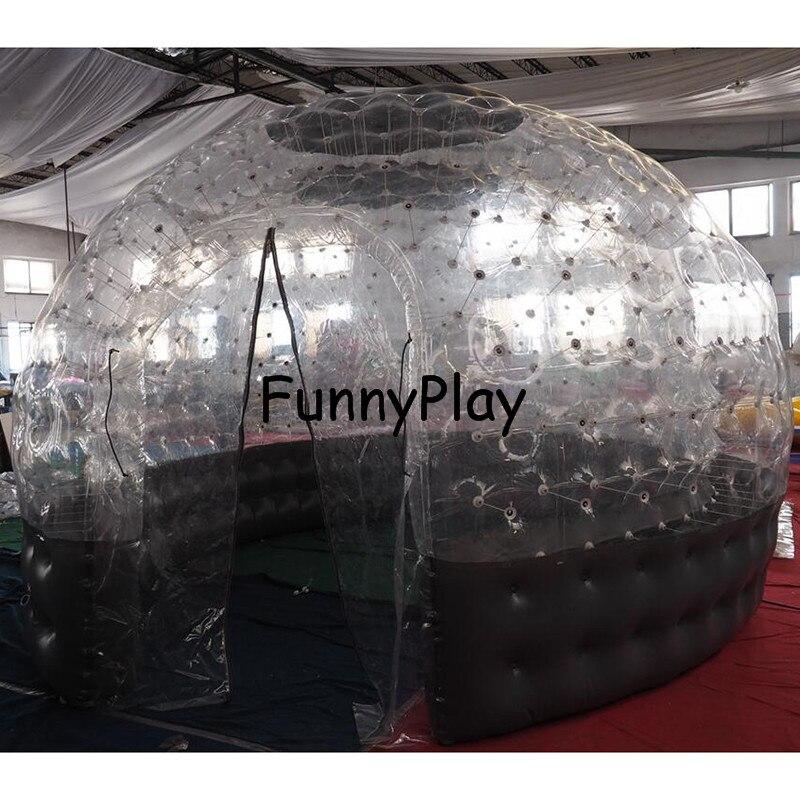Tente gonflable de bulle de Sauna demi claire maison noire de bulle pour la location d'hôtel, publicité d'arrière cour de Camping de famille - 4