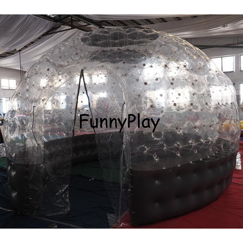 inflatable Sauna bubble tent half clear half black bubble house for hotel rental,Family Camping Backyard Advertising - 4