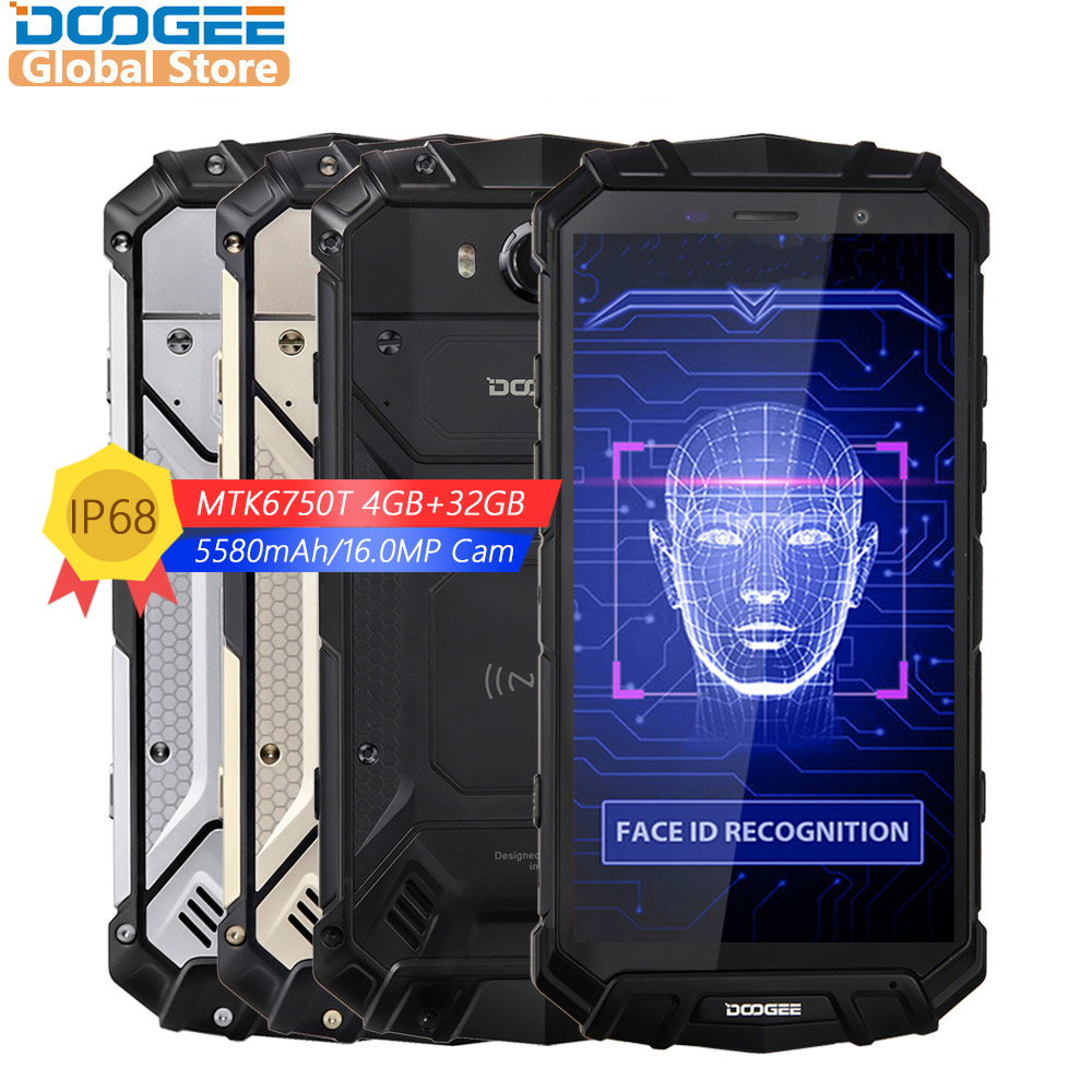 Doogee s60 lite ip68 carga sem fio smartphone 5580 mah 12v2a carga rápida 16.0mp 5.2 fcore fhd mtk6750t octa núcleo 4 gb ram 32 gb rom