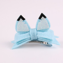 20pcs/5C Fashion Cute Glitter Fox Ears Hairpins Solid Kawaii Felt Bowknot Animal Ears Girls Hair Clips Headware Accessories