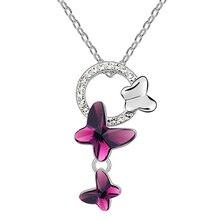 Mariposa Colgantes Collares Joyería de Moda Para Las Mujeres de la Alta Calidad Bijouterie Cristalino de Los Elementos de Swarovski 6874