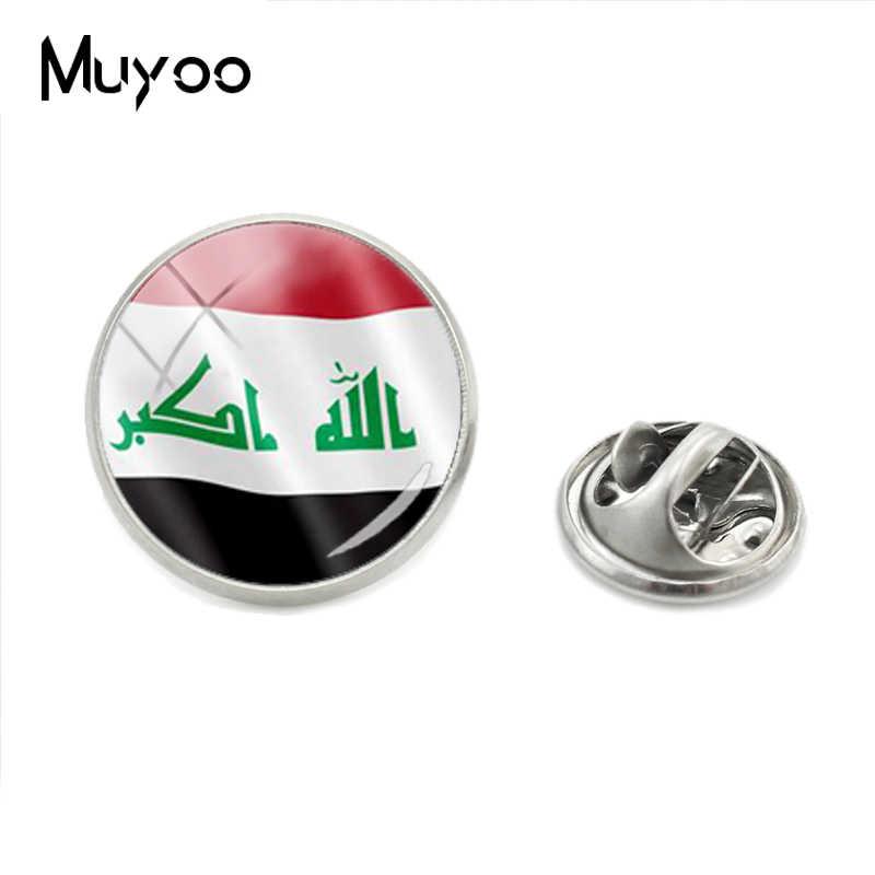 2018 Baru Fashion Suriah dan Armenia dan Yaman Bendera Kerah Pin Kaca Irak dan Iran dan Israel Bendera Foto Bulat perhiasan Bros