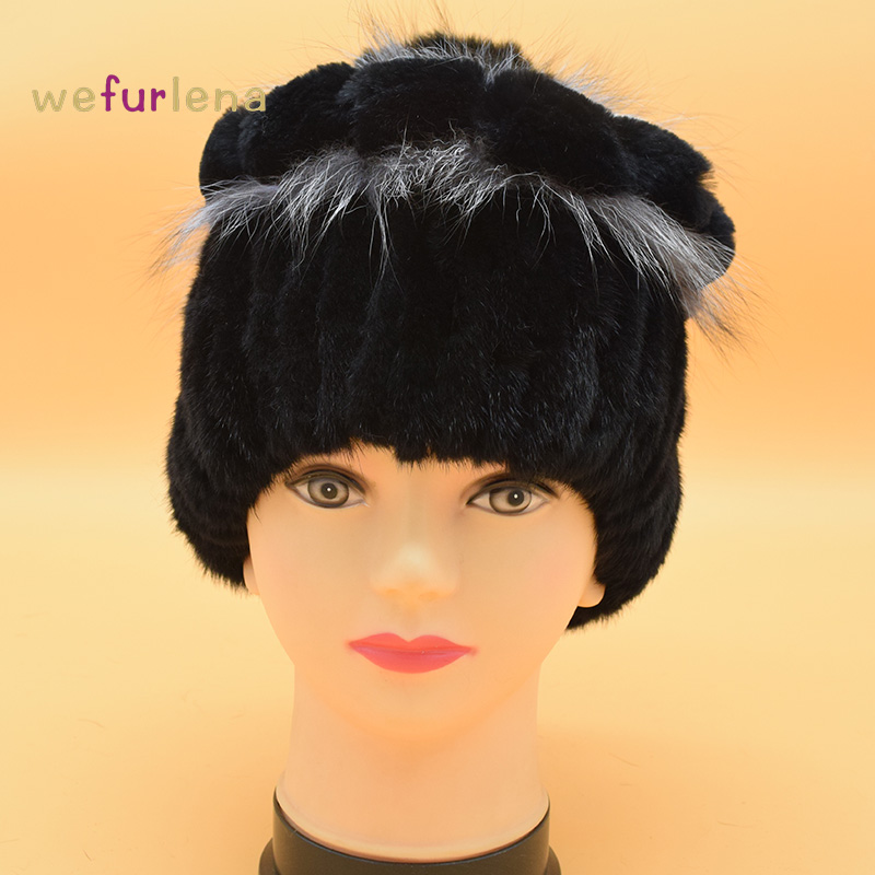 2017 Winter Beanies Fur Hat for Women Knitted Mink Fur Hat with Fox Rex Rabbit Fur Flower Top Free Size Casual Women's Hat