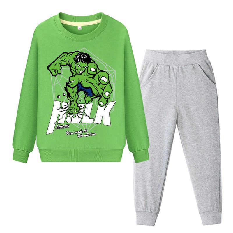 Crianças de Impressão Dos Desenhos Animados Hulk Moletom + Calça Conjuntos de Roupas Crianças 2019 Primavera Meninos Terno Esporte Treino Hoodies Do Bebê Traje DY019