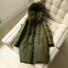 OLN Women Down Jackets Winter Long Outerwear Thicken Real Raccoon Fur Collar Parka Army Green Female Down Coat Windproof Jacket