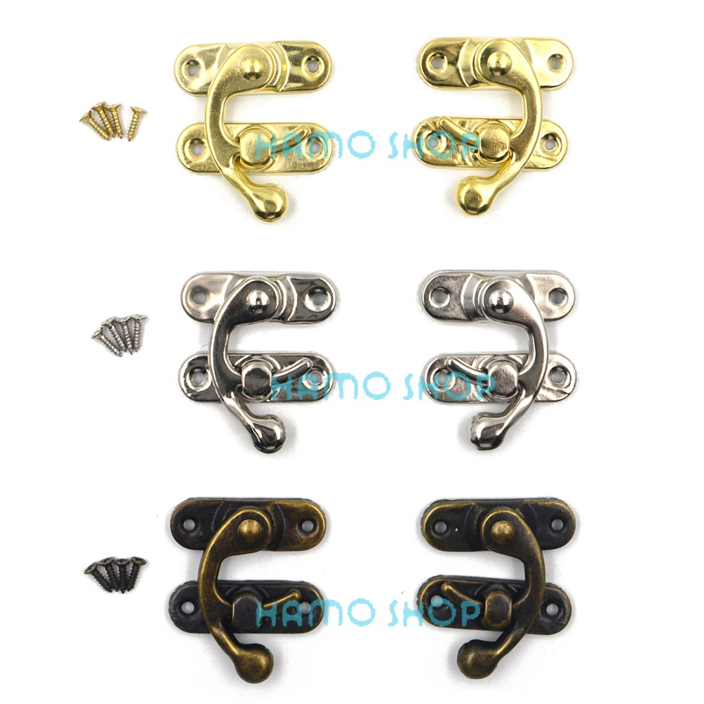 6pcs 37x43mm Mix 3 Colors Antique Decorative Jewelry Gift Wine Wooden Box Hasp Latch Hook With Screws DIY 12pcs antique decorative jewelry gift wine wooden box hasp latch hook 4 screws s08 drop ship