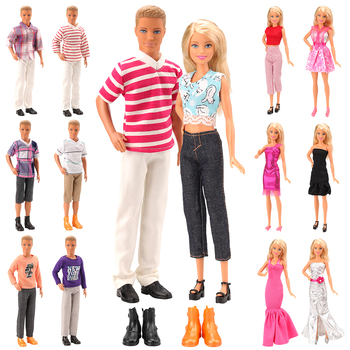 New Handmade 10 Items/Set=5 Clothes For Ken Random +3 Doll Dress +2 Doll Shoes Accessories For Barbie Ken Best Christmas Gift 9 item set doll accessories 3 pcs doll clothes dress 3 plastic necklace random 3 pairs shoes for barbie doll girl gift toy