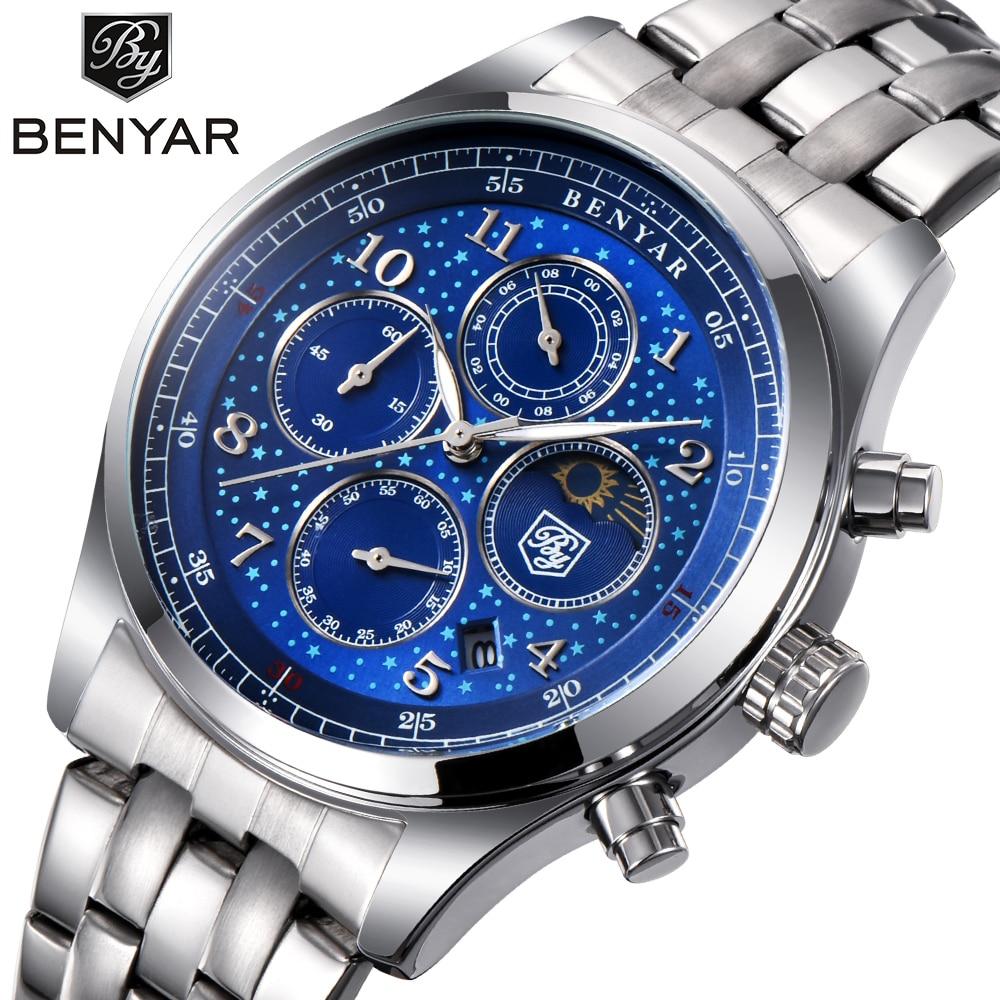 BENYAR Herren Uhren Top Luxus Mond Phase Voller Stahl Quarz Chronograph Uhr Sport Militär Wasserdichte Armbanduhr Stunden Uhr