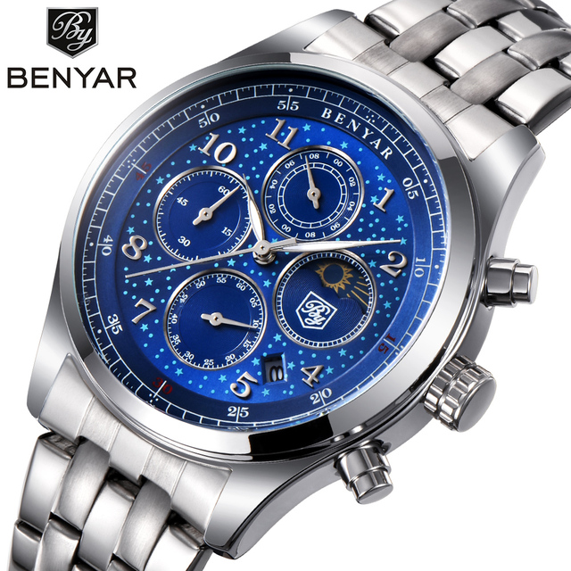 BENYAR Mens Watches Top Luxury Moon Phase Full Steel Quartz Chronograph Watch Sp