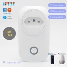 Wifi умный бразильский штекер питания монитор 16A BR умная розетка Беспроводная розетка Голосовое управление работа с Alexa Google home