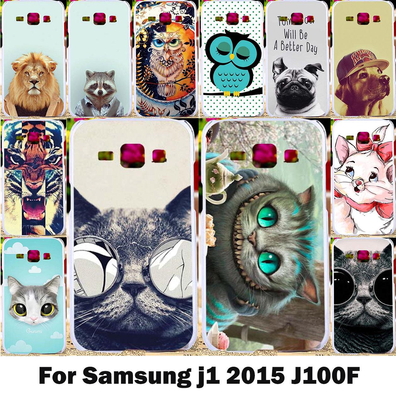 AKABEILA Cat Phone Case For Samsung Galaxy J1 2015 J100F J100FN J100H J100H/DD J100M J100MU SM-J100F J100 Hard PC Soft TPU Cover