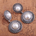 Fashion Large Brand Vintage Jewelry Antique Silver Pearl Earrings Austrian Crystal Max Brincos Grandes Brinco Masculino Relogios