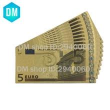 NOTA de BANCO de Notas de Euro Das Notas de Euro Cor 5 pçs/lote 10 24KT 99.9% do Dinheiro de Ouro Réplica para o Presente