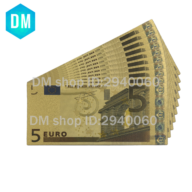 Euro billete Banco Nota 5 Euro Color billetes 24KT 99.9% oro dinero réplica para regalo 10 unids/lote