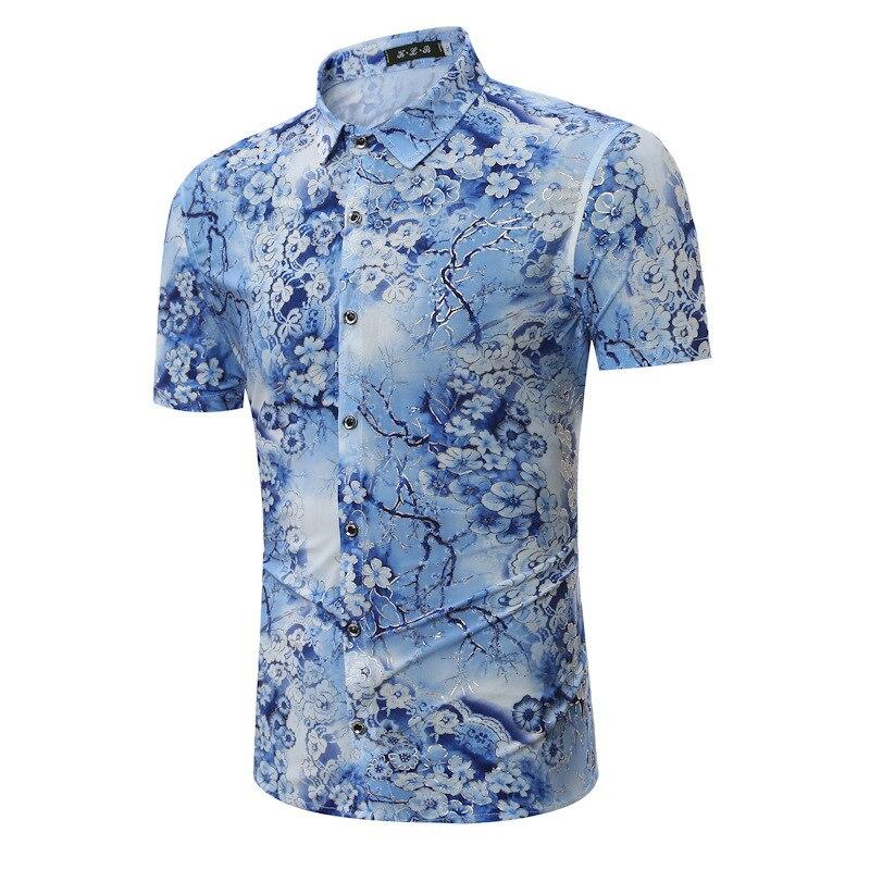 2017 summer fashion short sleeve men shirts casual mens for Mens short sleeve floral shirt