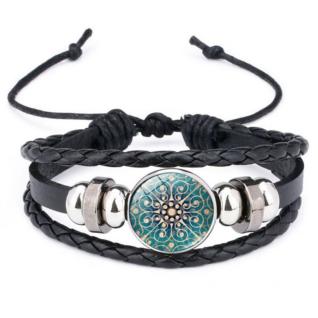Fashion Datura Pictures Glass Cabochon Leather Braided Bracelet for Boy Girl Weave Multi-layer Punk Style Bracelet