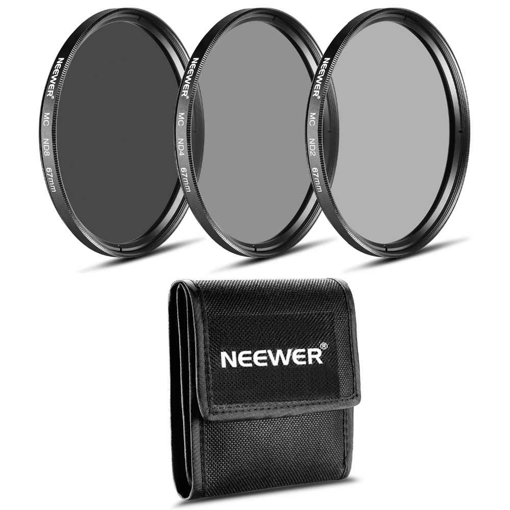 Neewer 67 มม.กรอง ND (ND2 ND4 ND8)+ ผ้าทำความสะอาดสำหรับ CANON 18-135 มม.EF-S IS STM เลนส์/NIKON 18-105 มม.F/3.5-5.6 AF-S DX VRED