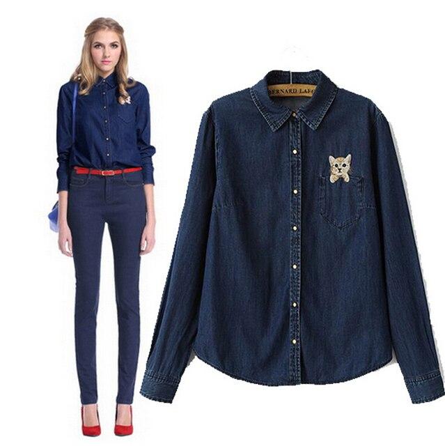 07b0ebda2 2014 Dark Blue Jean Shirt Women Denim Shirt Long Sleeves Blouses and Shirts  for Ladies Summer Casual Tops Camisa Jeans Feminina