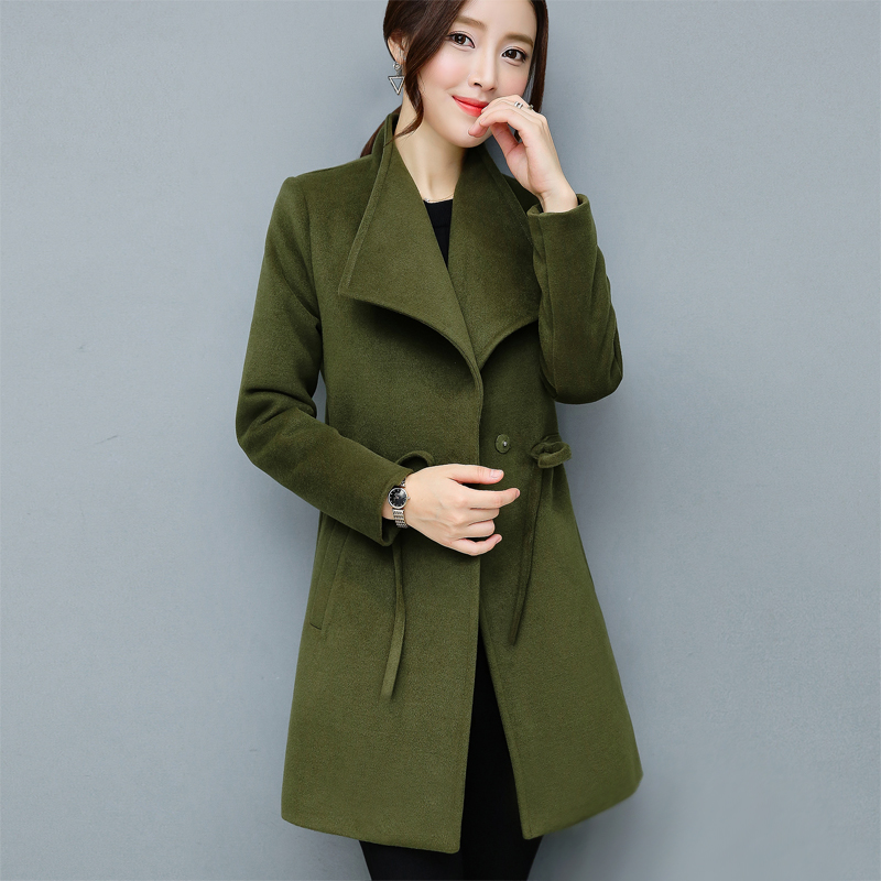 Kpop Women Woolen Coats Autumn Winter   Trench   Coat Ties Femme Fashion Slim Long Armygreen Overcoat Plus Size Outerwear