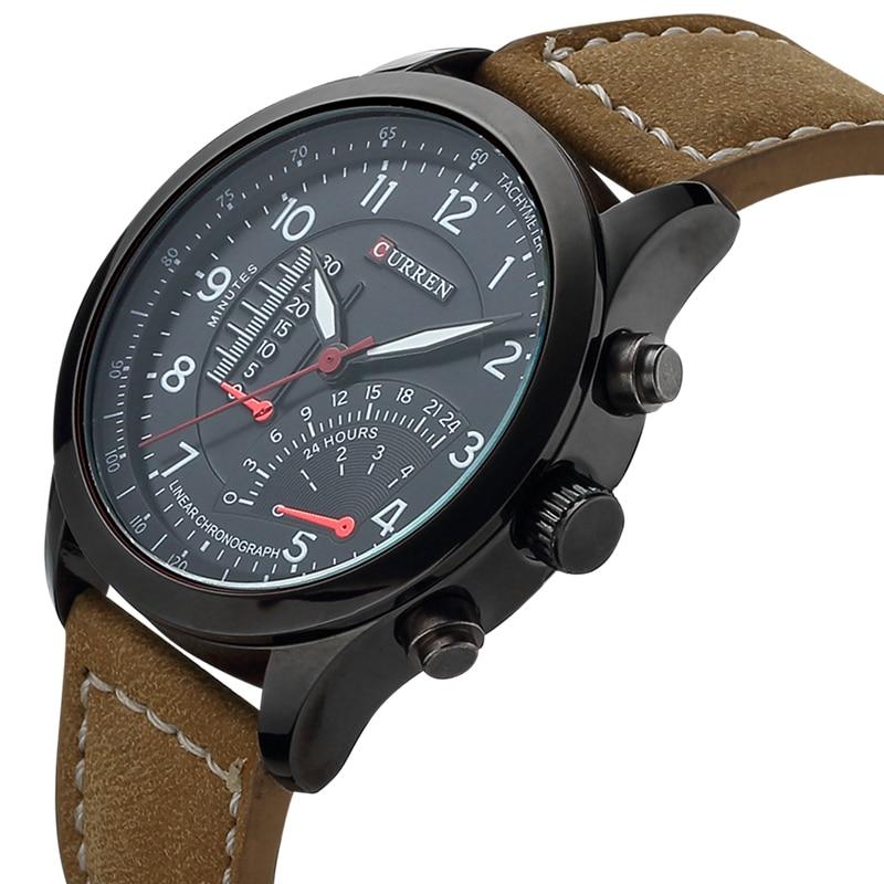цена на CURREN Men's Quartz Watches Top Brand Luxury Men Wristwatches Men Military Leather Relogio Masculino Sports Watch 8152