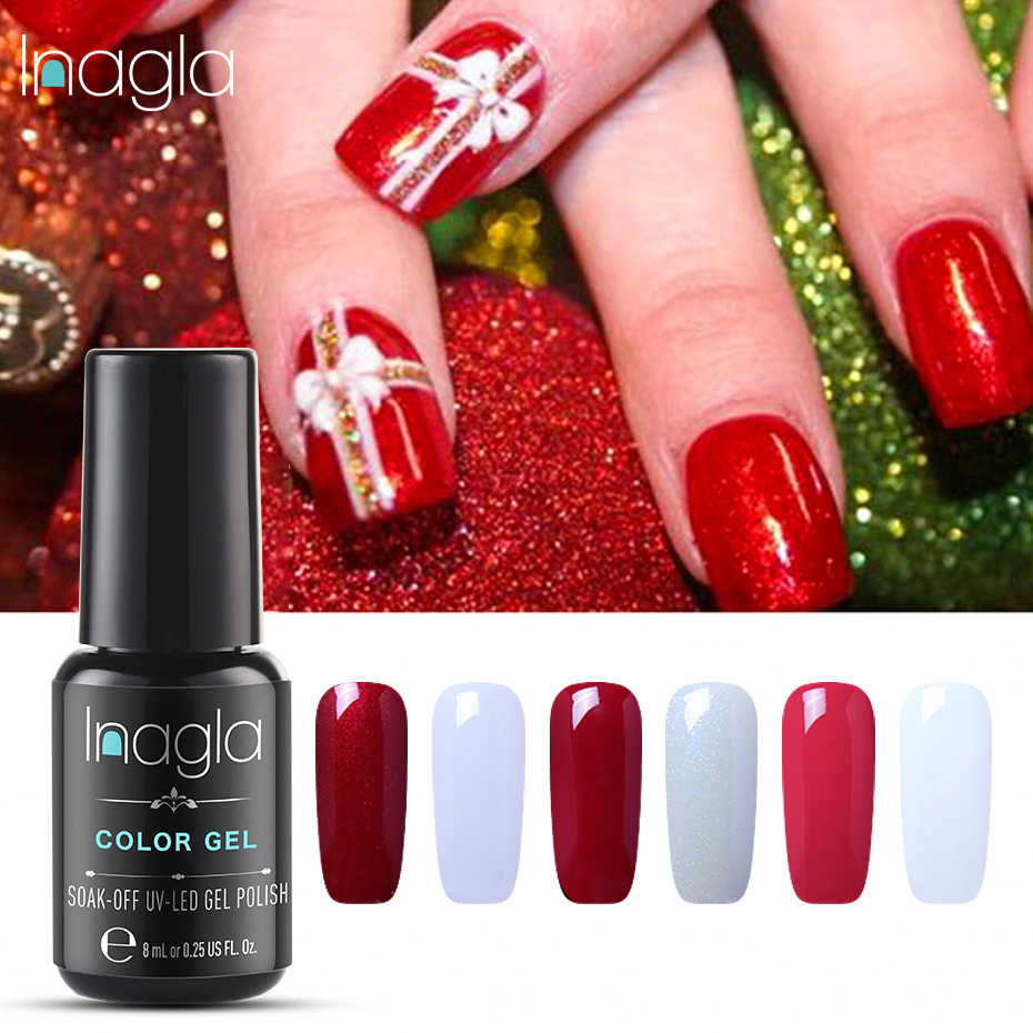 Inagla 8ML UV Gel Nail Polish Pure Color LED Lamp GelLak Soak Off Gelpolish Semi Permanent Hybrid Varnish Lucky Crismas Gel