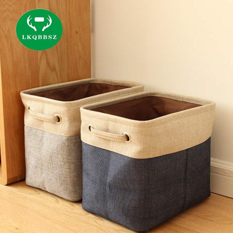 Linen Desk Storage Box Jute Holder Jewelry Cosmetic Stationery Organizer  Case Luggage Home Clothes Storage Case