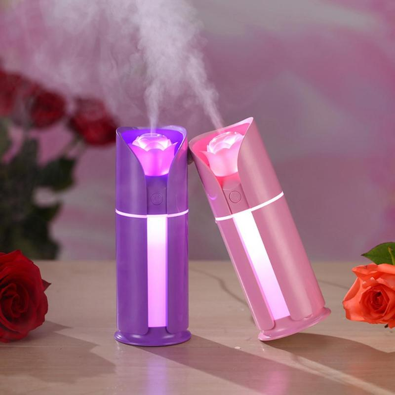 130ML Rose Shaped Spraying Nozzle Humidifier Colorful LED Light Aroma Essential Oil Diffuser Ultrasonic Mist Maker