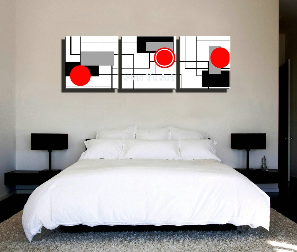 3 piece hd print cheap red black white modern artwork abstract canvas art painting for living room bedroom wall decoration in painting calligraphy from