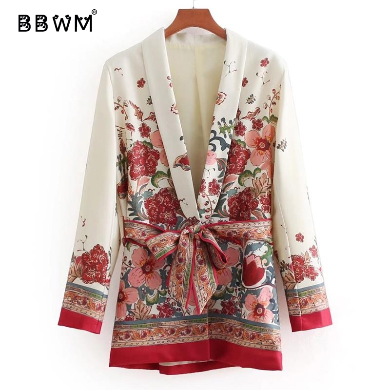 Printed casual suit collar women's jacket 2018 spring fashion  Belt was thin