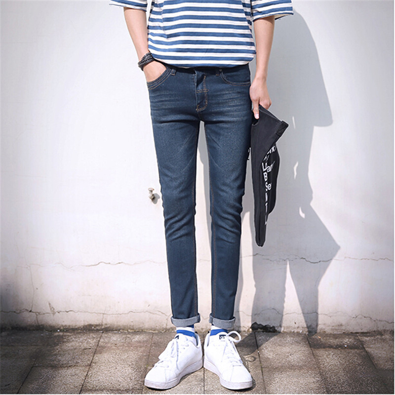 Popular Ripped Jeans Men Slim Fit Light Blue-Buy Cheap Ripped ...