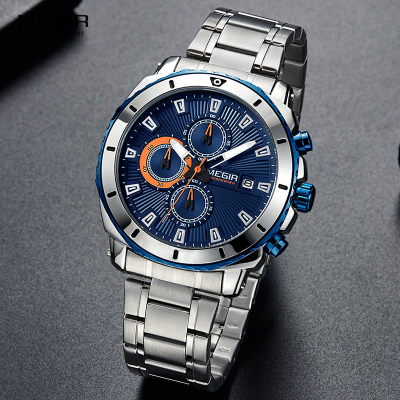 MEGIR 2018 New Quartz Luminous Man horloge Fashion Sport Stainless - Herenhorloges - Foto 3