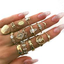 15 Pcs/set Women Fashion Rings Hearts Fatima Hands Virgin Mary Cross Leaf Hollow Geometric Crystal Ring Set Wedding Jewelry(China)