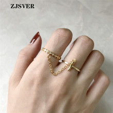ZJSVER Korean Jewelry 925 Sterling Silver Rings Golden Trendy Geometric Double Round Link Opening Adjustable Women Ring zjsver korean jewelry 925 sterling silver rings gold color retro simple double layer mermaid opening adjustable women ring