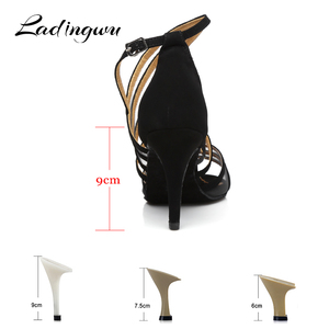 Image 3 - Ladingwu Women Dance Shoes Latin Flannel and Mesh Salsa Dance Shoes Red Brown Black Sneakers Dance Shoes Ballroom Heel 9cm