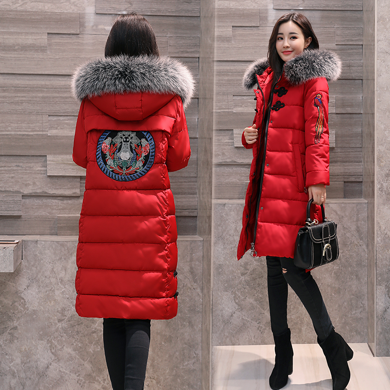 2017 New Fashion Long Winter Jacket Women Slim Female Coat Hooded big Fur collar Thick Parka Down Cotton Red Clothing plus size hot new 2014 winter clothing women fashion fur collar hooded lace patchwork elegant slim plus size zipper long down coat wj1883
