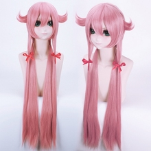 The Future Diary Gasai Yuno 100cm Long Pink Straight Anime Cosplay Wig Mirai Nikki Cheap Synthetic Hair Wigs For Women