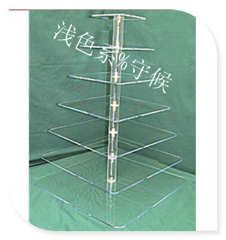 free shipping 7 Tier Square Clear Acrylic Cupcake Stand Lucite Weeding Maypole Cake Display Stand For Decoration