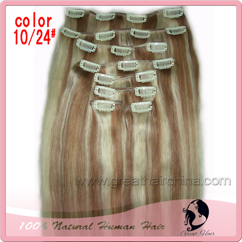 Ring Can be dyed and bleached  24 inches Natural Straight Virgin Remy  Hair 8Pcs/Pack 120g Clip in Hair Extension 15 colors american pride hair 18 8pcs 100g straight clip in hair extension full head set 100% indian virgin human hair free shipping